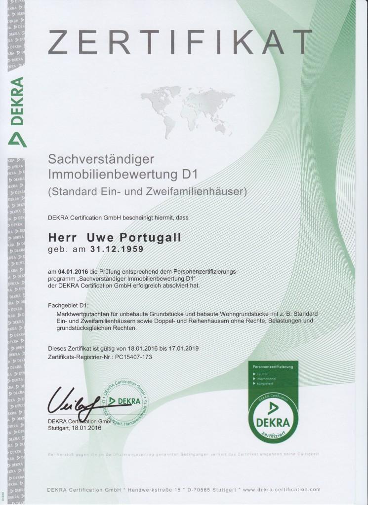 Dekra Zertifikat Sachverständiger Immobilienbewertung D1